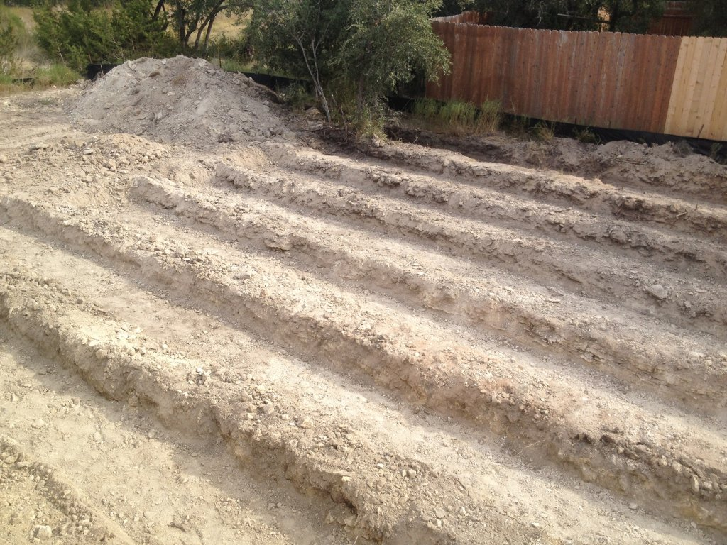 Back yard being prepped for underground septic irrigation system. No need to water back yard!